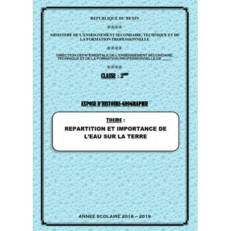 RÉPARTITION ET IMPORTANCE DE L\'EAU SUR LA TERRE -EXPOSE D\'HISTOIRE GÉOGRAPHIE (CLASSE DE 2NDE)