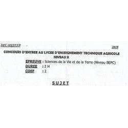 CONCOURS D'ENTRÉE AU LYCÉE D'ENSEIGNEMENT TECHNIQUE AGRICOLE NIVEAU II 2019, SVT