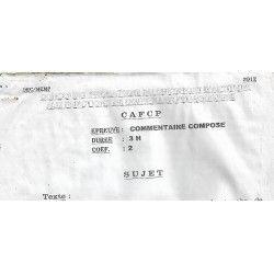 CONCOURS PROBATOIRE DU CERTIFICAT D'APTITUDE AUX FONCTIONS DE CONSEILLER PEDAGOGIQUE (CAFCP) COMMENTAIRE COMPOSE 2012