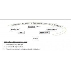 BEPC BLANC 2020 DES COLLÈGES PRIVÉS DE BORGOU SVT
