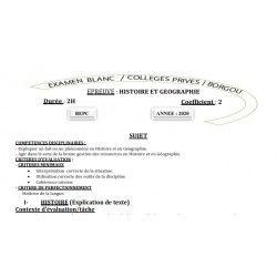 BEPC BLANC 2020 DES COLLÈGES PRIVÉS DE BORGOU HISTOIRE ET GEOGRAPHIE