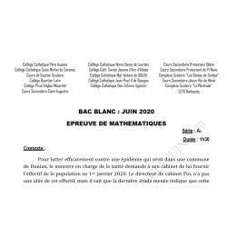 SUJET ET CORRIGÉ BAC BLANC DES COLLÈGES CATHOLIQUES DE L'ATLANTIQUE ET DU LITTORAL MATHEMATIQUES SERIE A1 JUIN 2020