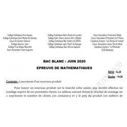 SUJET ET CORRIGÉ BAC BLANC DES COLLÈGES CATHOLIQUES DE L'ATLANTIQUE ET DU LITTORAL MATHEMATIQUES SERIE A2 B JUIN 2020