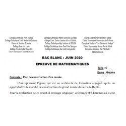 SUJET ET CORRIGÉ BAC BLANC DES COLLÈGES CATHOLIQUES DE L'ATLANTIQUE ET DU LITTORAL MATHEMATIQUES SERIE C JUIN 2020