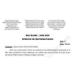 SUJET ET CORRIGÉ BAC BLANC DES COLLÈGES CATHOLIQUES DE L'ATLANTIQUE ET DU LITTORAL MATHEMATIQUES SERIE D JUIN 2020