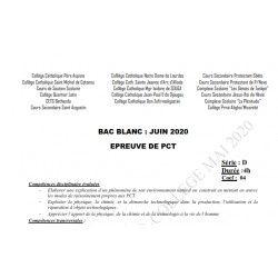 SUJET ET CORRIGÉ BAC BLANC DES COLLÈGES CATHOLIQUES DE L'ATLANTIQUE ET DU LITTORAL PCT SERIE D JUIN 2020
