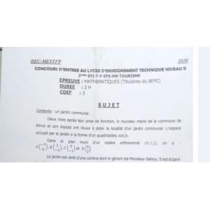 CONCOURS D'ENTRÉE AU LYCÉE D'ENSEIGNEMENT TECHNIQUE NIVEAU 2 MATHÉMATIQUES 2020